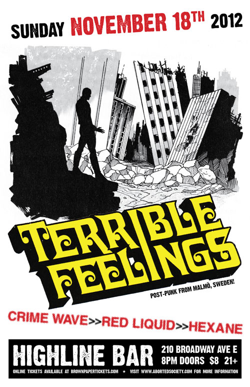 TERRIBLE FEELINGS in Seattle November 18th!